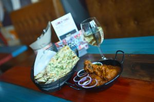 Indian curry and wine